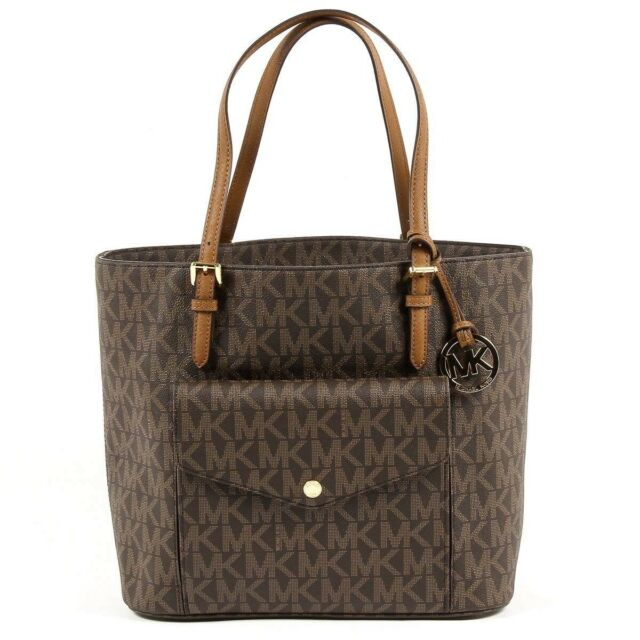 ec9d5e8fb1aa NWT Authentic Michael Kors Jet Set Large Pocket Signature Tote Brown  35S6GTTT3B