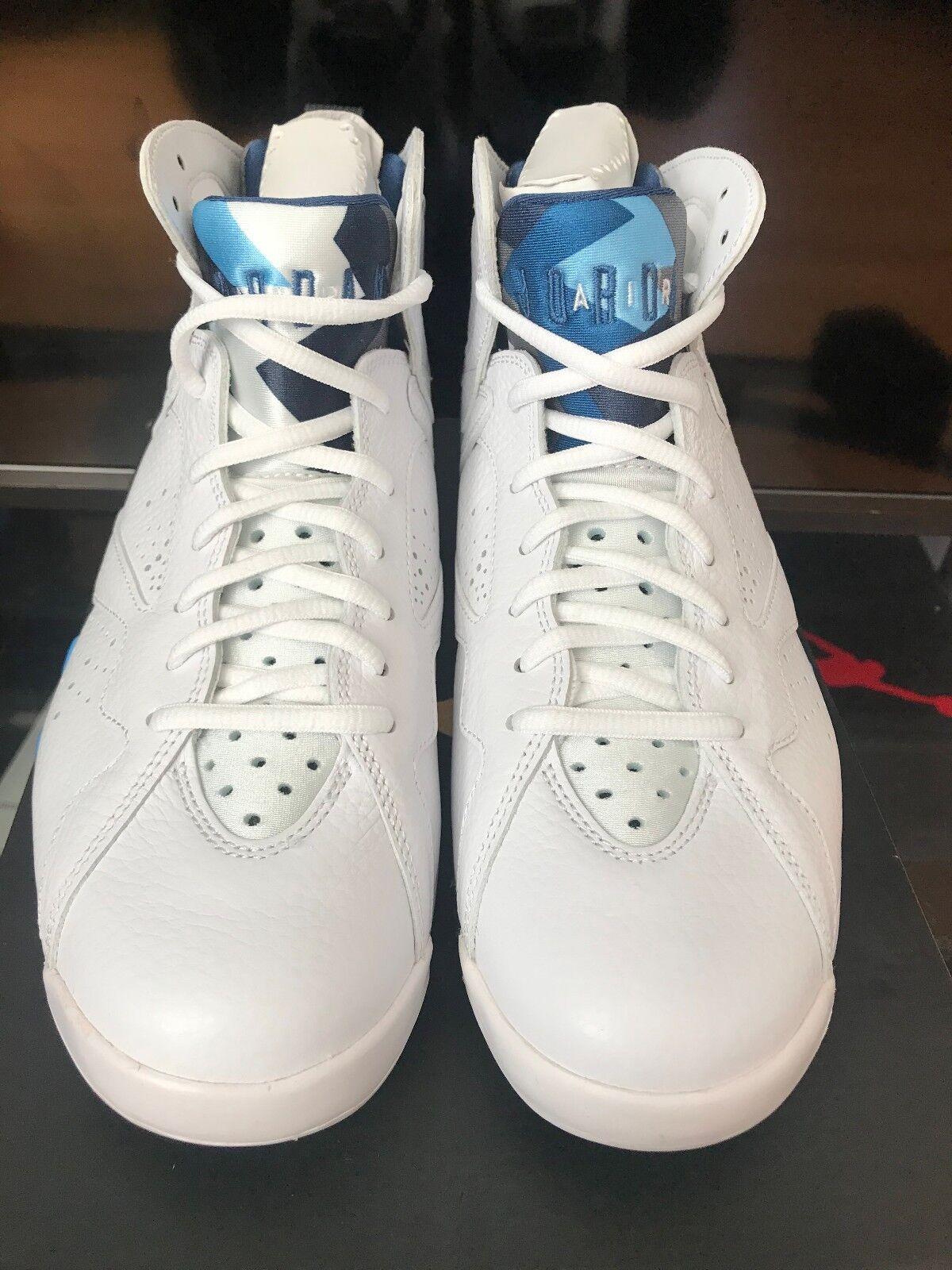 New Mens Nike Air Jordan Retro 7 VII 304775-107 White French Blue UNC Size 8