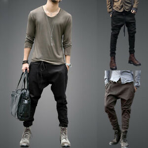 Mens-Casual-Harem-Low-Drop-Crotch-Baggy-Hip-Hop-Cargo-Chino-Pants-Trousers-Solid