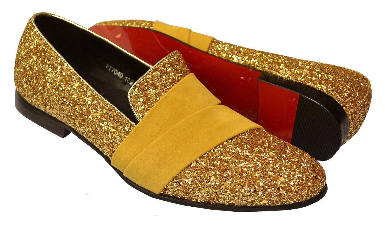 Fiesso Metallic Shiny Gold Glitter / Velvet Fashion Leather Slip-On Shoes FI7040