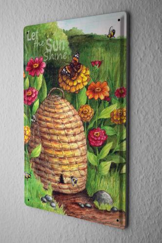 Tin Sign Nursery Decoration  Beehive Flowers Butterfly Sun Meadow Metal Plate