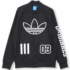 ADIDAS LOGO TRACK TOP JACKET Black-White big trefoil baseball ... e0e2d076c
