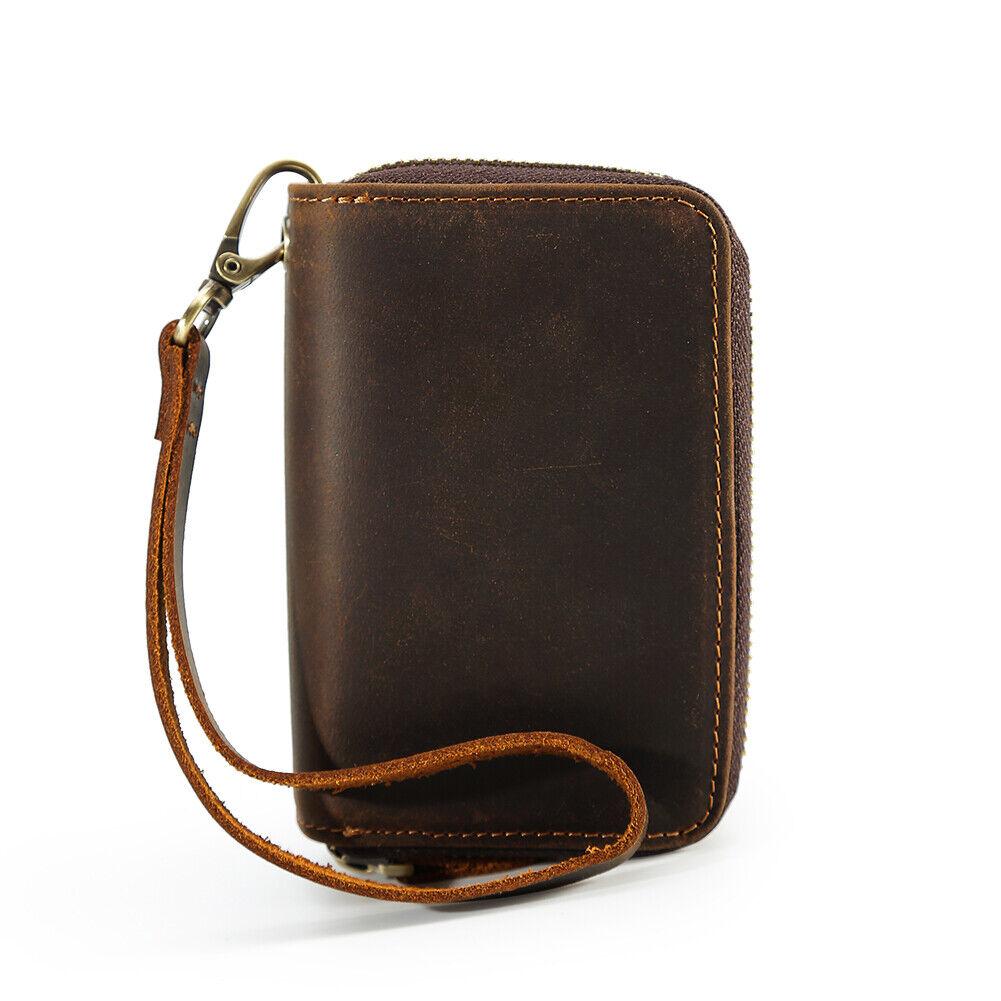 Retro Men Real Leather Clutch Bag Wallet Zipper Purse Money Clip Cards Keys Hold