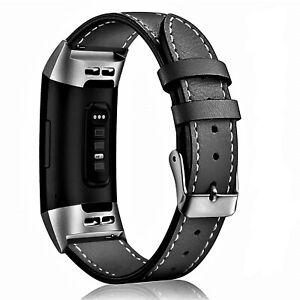 Fitbit-Cargo-3-Correa-de-Cuero-Genuino-Banda-de-reemplazo-Clasico-Negro-Ajustable