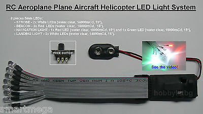 RC Aeroplane Plane Aircraft Helicopter LED Light System Navigation Beacon Light