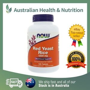 NOW FOODS RED YEAST RICE 1200MG 120T REDUCE CHOLESTEROL + FREE SHIPPING
