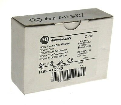 New Allen Bradley 1489-a1d050 Industrial Circuit Breaker Series A 1 Pole 5 Amp