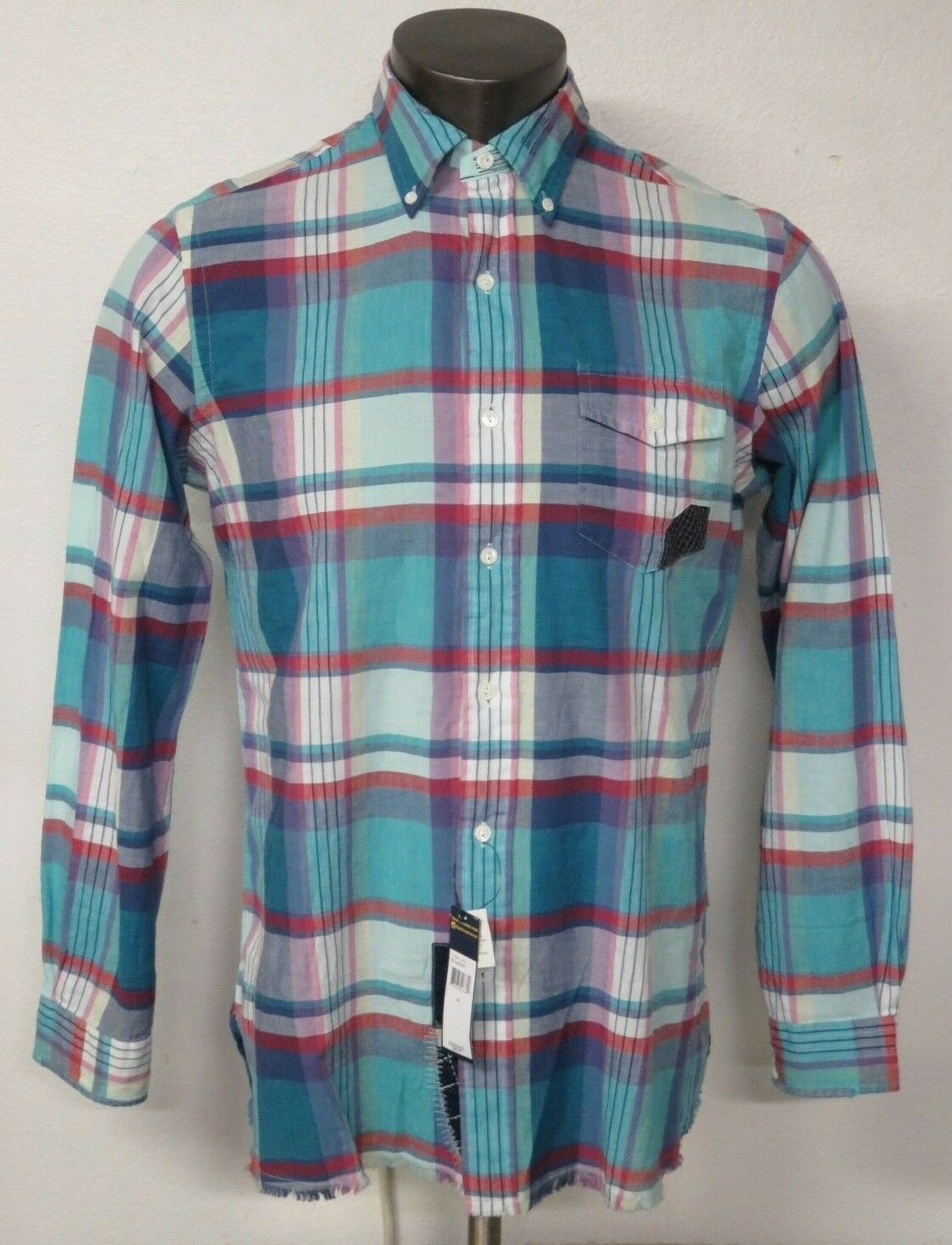 Mens Polo Ralph Lauren Long Sleeve Patch Plaid Shirt Indian Madras Distressed M