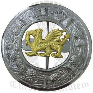Men-s-Scottish-Kilt-Fly-Plaid-Brooch-Irish-Welsh-Dragon-Gold-amp-Chrome-Finish-3-034