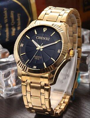 Men's Waterproof Yellow Gold Most Popular Luxury Crystal Dress Quartz Watches