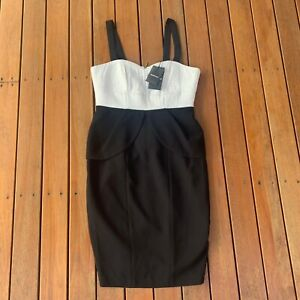 New With Tags Country Road Size 10 Dress Contr Bodice Black & White RRP $180