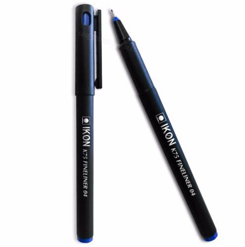 Pack Of 10 Pens K75 10x Blue Fineliner Writing Pens Ultra Fine Nib Tip 0.4mm