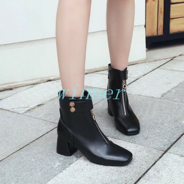 Fashion Women's Ankle Boots Square Toe Front Zip Mid Block Heel Pu Leather Shoes