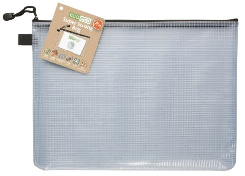 eco-eco Stationery Recycled Super Strong Tuff Mesh Storage Zip Cases FULL RANGE