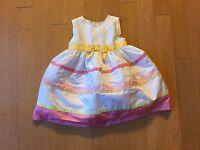 Gymboree Girls Flower Dress Size 18-24 M White Pink Wedding Formal Easter