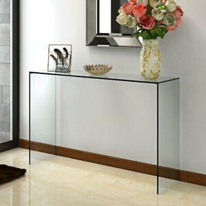 Modern Design Glass Console Table Clear Dining Bent Hall End Table Side End Desk