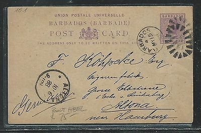 1888 Qv 1 1/2d Psc To Germany With Msg Delicacies Loved By All Aggressive Barbados p2706b