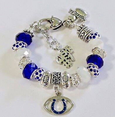 BAS Indianapolis Colts Metal Charm Bracelet 7 to 9 Adjustable