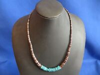Stunning Navajo Hand Crafted Magnacite Turquoise Necklace Heishi Shell 19