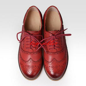 Retro-Womens-Leather-Flat-Brogues-Flat-Oxfords-Wingtip-Lace-Up-Carved-Shoes-New