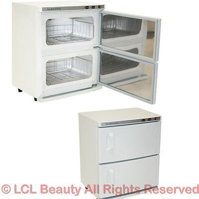 2 cabinet hot towel warmer uv sanitizer sterilizer beauty spa salon equipment