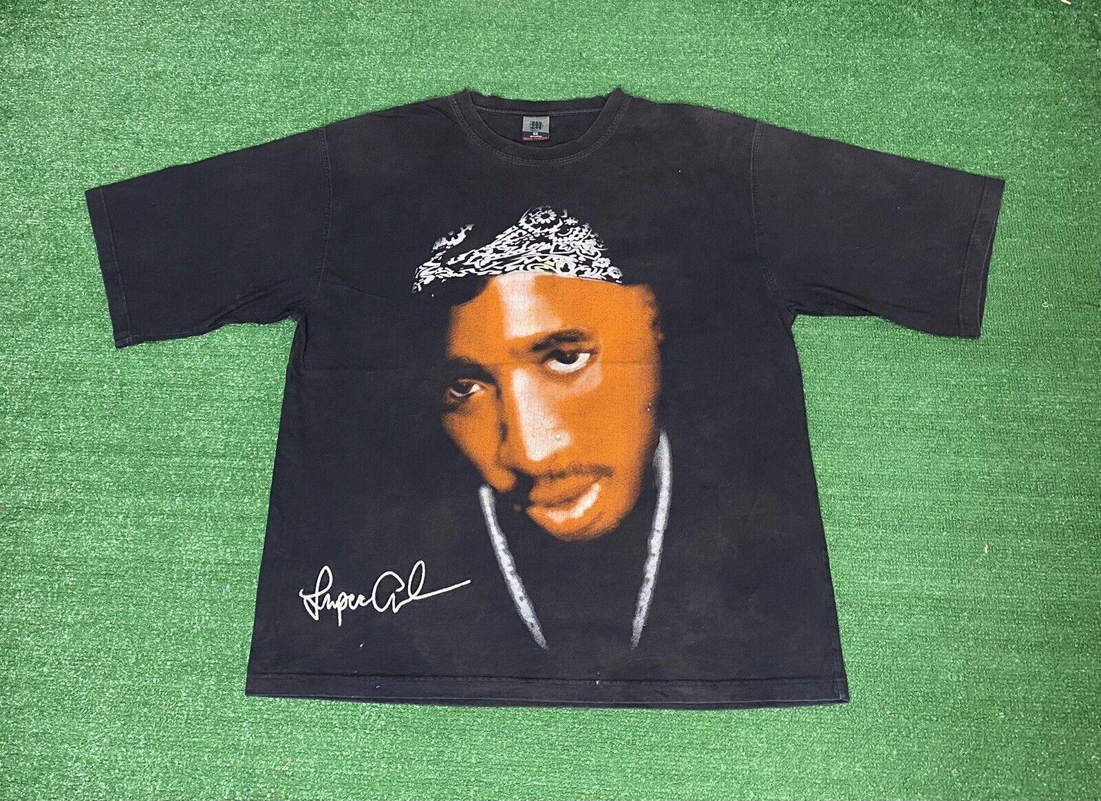 Vtg 90s 2PAC Tupac Biggie Notorious BIG Rap Hip Hop T-shirt Wanted Makaveli