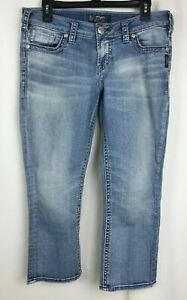 Silver-Jeans-Co-Aiko-Jeans-Mid-Capri-Light-Blue-Women-s-Size-Waist-30-Length-22