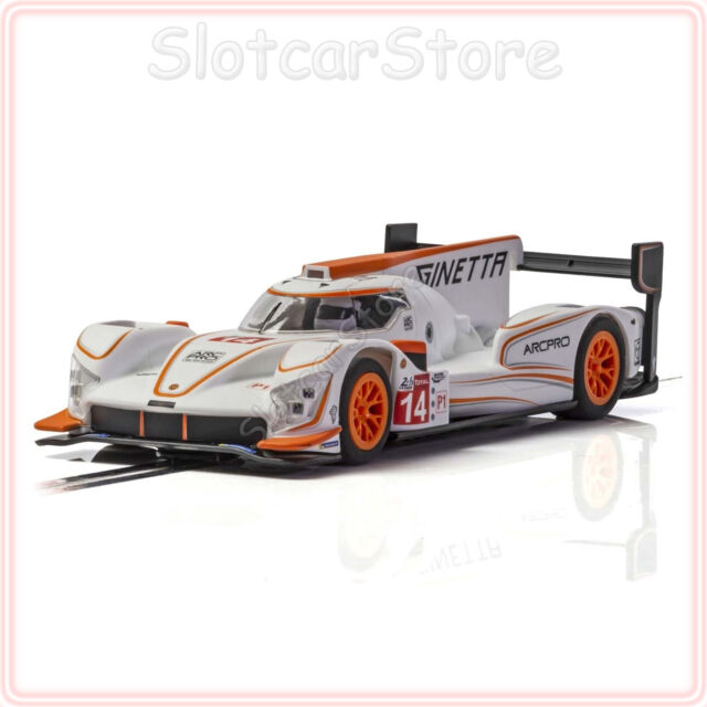 "Scalextric C4061 Ginetta G60-LT-P1 ""No.14 White Orange"" 1:32 Auto Slotcar Licht"