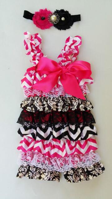NEW chevron Girl Posh Ruffle Romper baby girl romper flower headband set