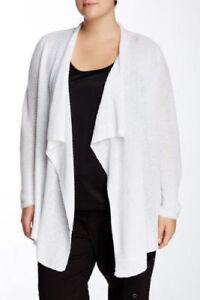 44da3dfd02 Eileen Fisher NWT  278 Large White Organic Linen Rib Drape Open ...