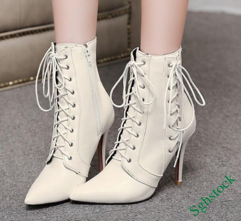 Roman Gladiator Women's Ankle Boots Lace Up Pointy Toe shoes US4.5-12.5 Size New