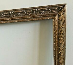 Antique-Ornate-Gesso-Wood-Carved-Frame-Picture-Photo-Gilded-Gold-Baroque-20x16