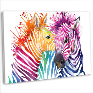 Image Is Loading Multicoloured Zebra Abstract Canvas Print Framed Animal Wall