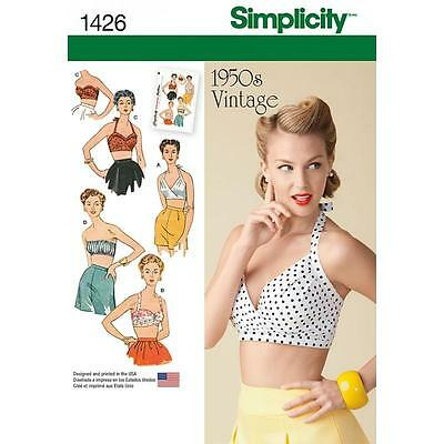 SIMPLICITY SEWING PATTERN 1950s VINTAGE BRA TOPS SIZE 4- 22 1426