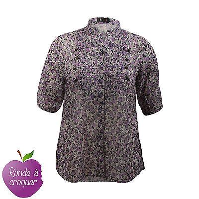 Grande taille - Chemisier col officier motif fleurs violettes 44 46 48 50 52 54