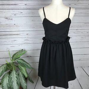 NWT-ASOS-Women-039-s-Black-Ruffle-Waist-Sweetheart-Dress-US-6-UK-10-EU-38
