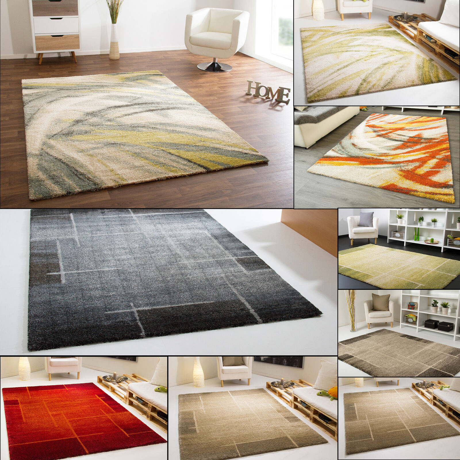MODERN LIVING ROOM ROOM ROOM RUG SEATTLE FIELDS -  IN 6 COLOURS 3ec81b