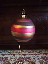 Dillards Christmas Tree Ornament Italy Striped Pink Brown Gold Large Blown Glass