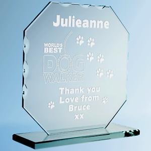 Engraved World/'s Best Dog Walker Cut Glass Frame Thank You Dog Carer Plaque Gift