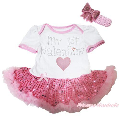 MON 1ST Valentine Coeur Blanc Body Rose Bling Paillettes Filles Robe de bébé NB-18M