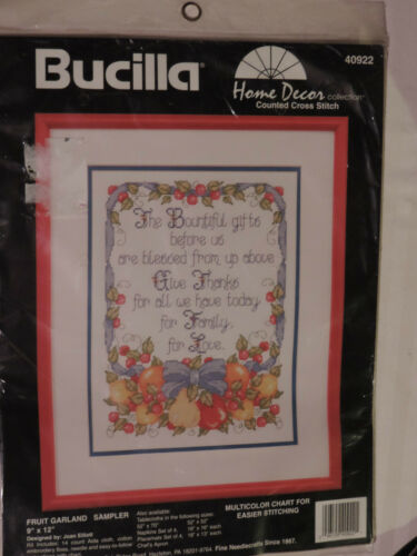 New Unopened Bucilla Counted X Stitch Kit Fruit Garland Family Blessing Prayer