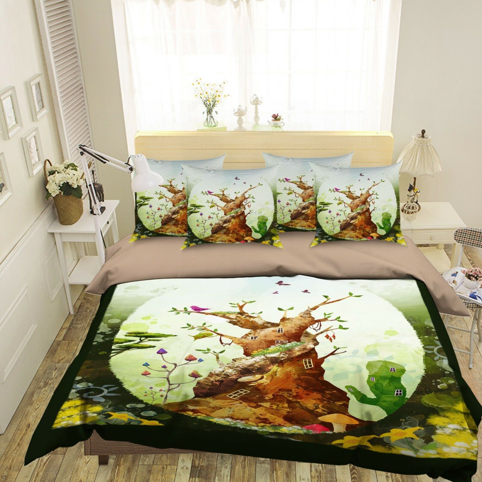 3D Tree House 59 Bed Pillowcases Quilt Duvet Cover Set Single Queen King AU Cobb