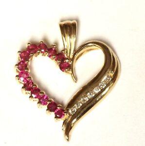 14k-yellow-gold-07ct-SI2-G-diamond-ruby-heart-pendant-3-1g-estate-vintage