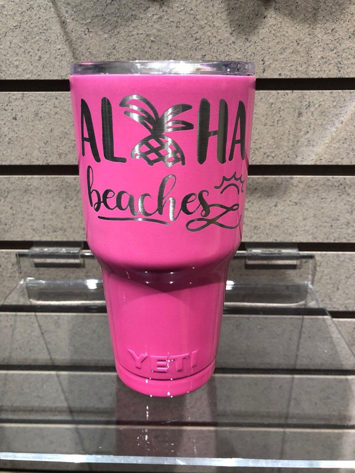 Yeti Aloha Beaches Tumbler Pink Lazer Etched 30oz Tumbler  Engraved  online sale