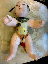 ANTIQUE ICH IMATSU GOFUN JAPANESE DOLL BABY BOY HAIR ORIGINAL 12""