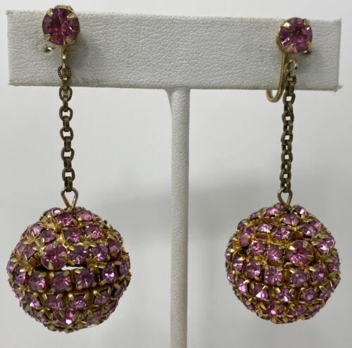 Earrings Silver Tone Chandelier Clear Stone Aurora Borealis Rhinestone Clip On Drop Part Vintage Jewelry Art Deco Gift *106