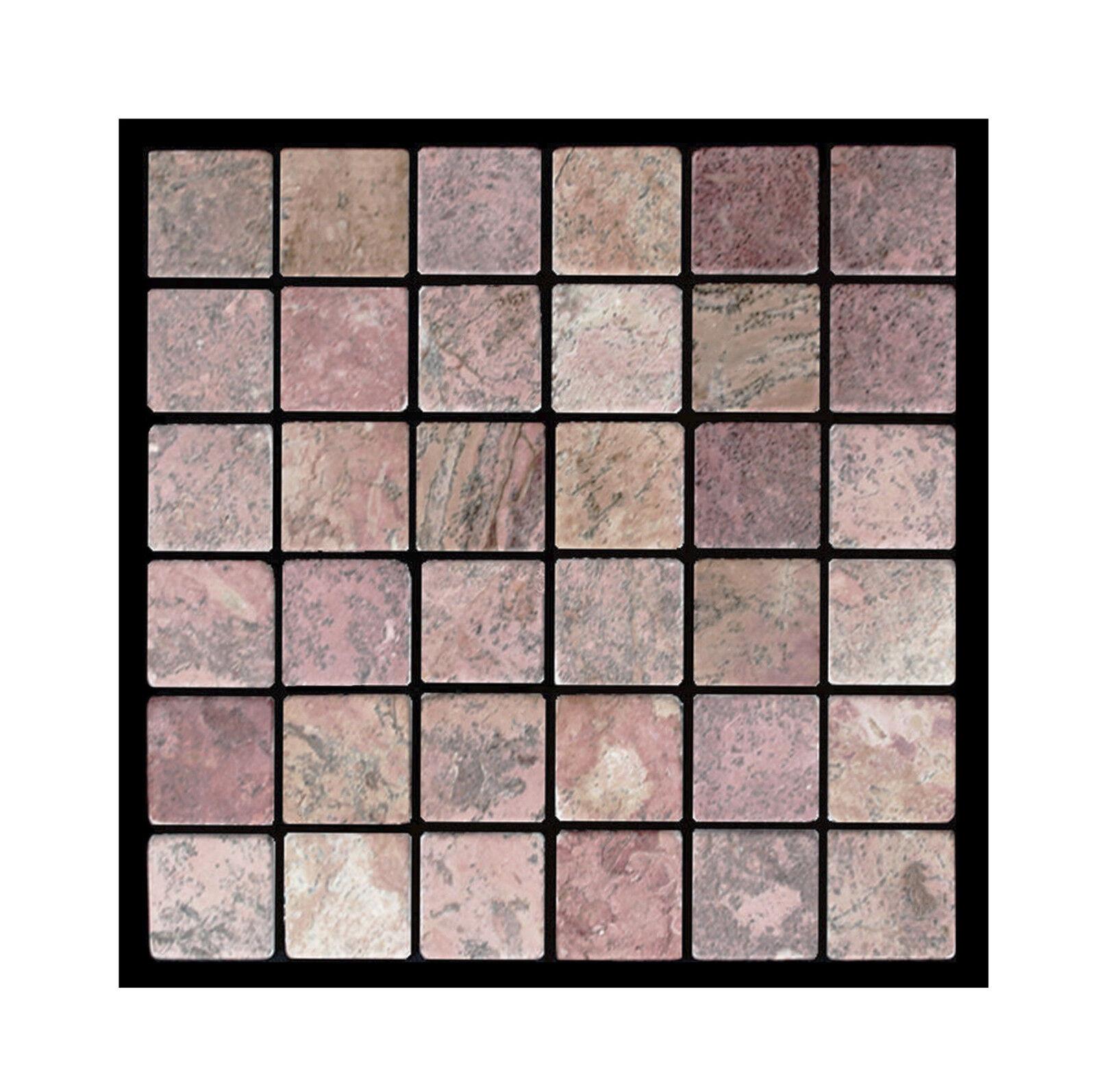 1 qm  - PA-802 - Marmor-Mosaik Toskana Rot 5x5 Küchen Badezimmer Pool Fliesen
