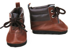 "Brown Hiking Boots Shoes for 18"" American Girl Doll Boy Logan Clothes Accessory"