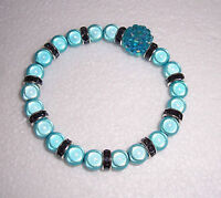 Turquoise Miracle Bead Stretch Bracelet Disco Rondelles Fashion Jools Handmade