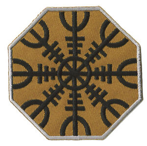 Patche-ecusson-Viking-Rune-Aegishjalmur-boussole-patch-brode-thermocollant